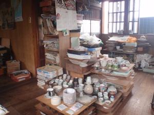 Upstairs of his painting studio