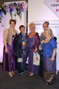 me and my international painting friends at the Gala dinner, the porcelain painting exhibition in Thailand
