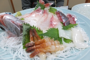 Raw Tai (sea bream), called sashimi in Japanese